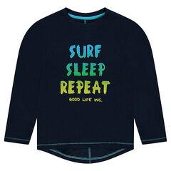 Junior - T-shirt met lange mouwen uit jerseystof met print met boodschap