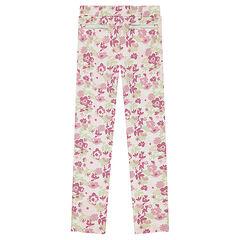 Jegging en milano à fleurs all-over et poches zippées décoratives