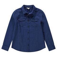 Chemise en coton fantaisie à poches boutonnées