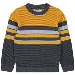 Pull en tricot ottoman à bandes contrastées