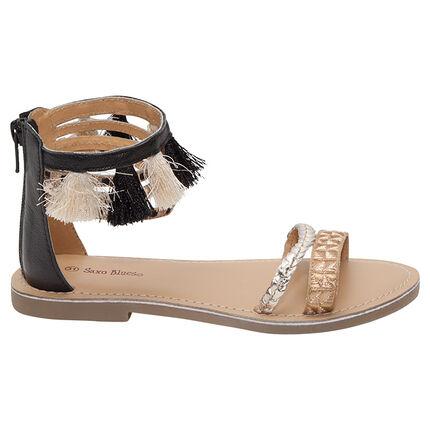 Nu-pieds avec brides irisées et pompons