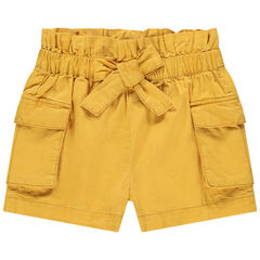 Short uni jaune avec poches à rabat , Orchestra