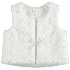 Vest zonder mouwen van sherpastof met reliëf en voering van jerseystof