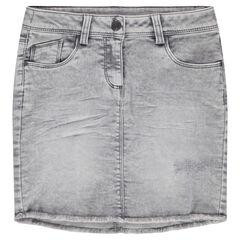 Korte rok van denim met used effect en afwerking met franjes