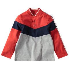 Polo met lange mouwen in drie kleuren, baseballkraag en contrasterende banden