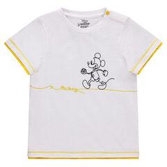 T-shirt met korte mouwen van wafelpiqué van katoen met Mickeyprint