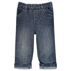 Jeans coupe droite effet used et crinkle à taille élastiquée