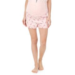 """Homewear zwangerschapsshort met roze flamingo's """"all-over"""""""