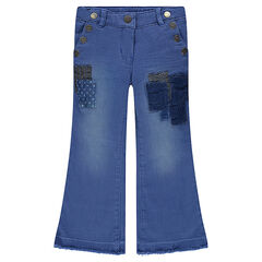 Flared jeans met fantasiepatches