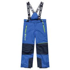 Pantalon de ski imperméable bicolore avec bretelles amovibles