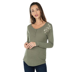 Zwangerschaps-T-shirt met lange mouwen en borduurwerk met bloemen