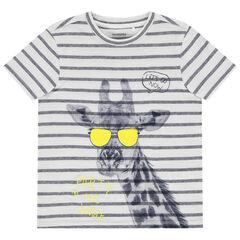 T-shirt manches courtes à rayure et print girafe
