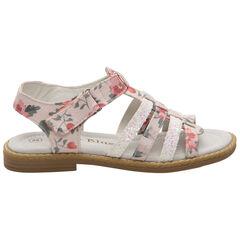 Nu-pieds à imprimé floral all-over et brides pailletées