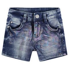 Jeansshort met regenboogopdruk
