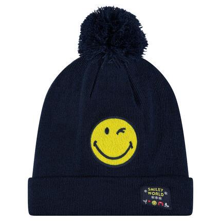Bonnet en tricot côtelé avec badge Smiley patché et pompon