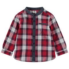 Geruit hemd met lange mouwen en met details van chambray
