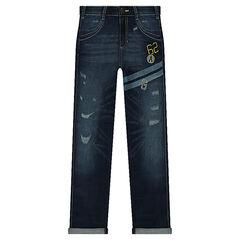 Junior - Jeans met used en banden met print en borduurwerk