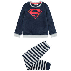 Pyjama polaire à rayures et logo Superman brodé