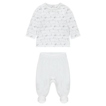 Pyjama uit jerseystof met bovenstuk met print en effen onderstuk