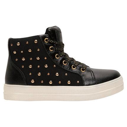 Hoge zwarte sneakers uit 2 materialen met decoratieve studs