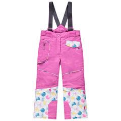 Roze skibroek met afneembare schouderbanden en zakken