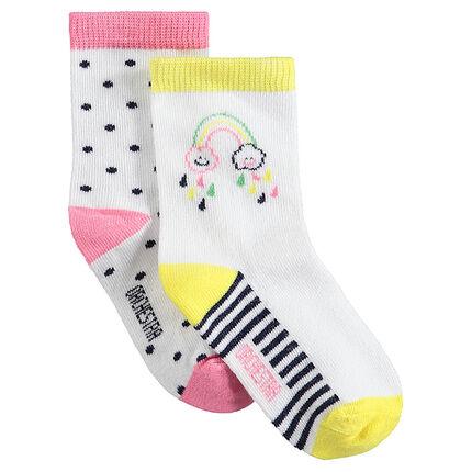 Set met 2 paar matching sokken met stippenprint en regenboog van jacquard