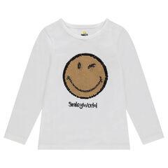 Tee-shirt manches longues en jersey avec ©Smiley en sequins magiques