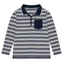 Junior - Polo manches longues à rayures all-over avec poche et col zippé
