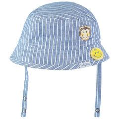 Matrozenmuts van katoen met verticale strepen en opgestikte Smiley-badges