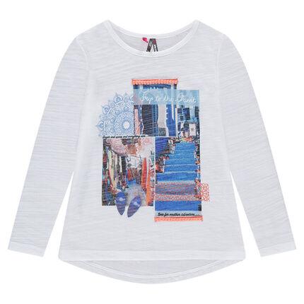 T-shirt met lange mouwen uit slub jerseystof met print met landschap