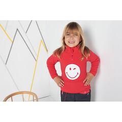 Fleecesweater met opgelegde ©Smiley en kraag met ritssluiting