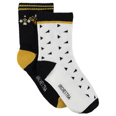 """Set met 2 paar matching sokken met motief """"all-over""""/effen met motief"""