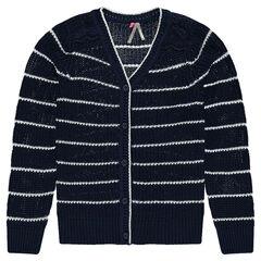 Junior - Gilet en tricot rayé et dentelle