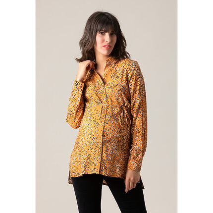 Chemise manches longues jaune à pois all-over