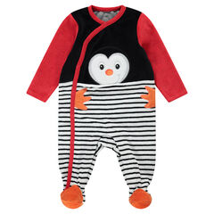 Pyjama van velours met pinguïn en opgelegde strepen