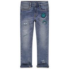 Jeans met used en crinkle-effect met opgestikte Smiley-badges
