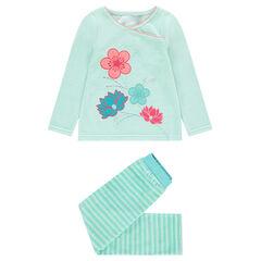 Pyjama en velours avec fleurs brodées et rayures