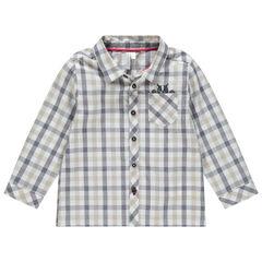 Chemise manches longues à carreeaux à poche print bouledogue