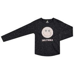 Junior - T-shirt met lange mouwen van slub jerseystof met Smiley-patch