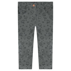 Pantalon en twill coupe slim avec nuages printés all-over