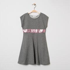 Robe en maille manches courtes avec bandeau en sequins roses
