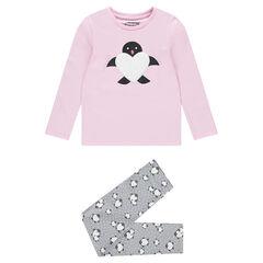 Pyjama van jerseystof met piguïn en hart van sherpa