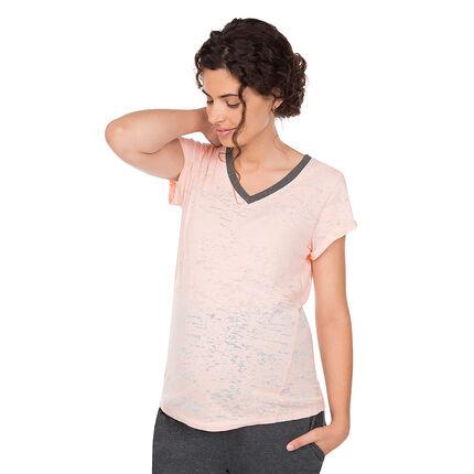 Homewear zwangerschapsshirt met korte mouwen en gebroken effect