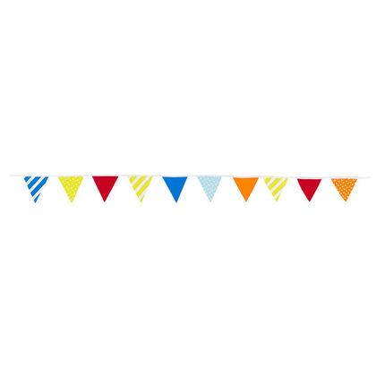 Guirlande d'anniversaire à triangles colorés et motifs fantaisie