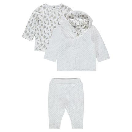 Ensemble 3 pièces avec gilet à capuche, tee-shirt imprimé et pantalon