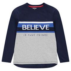 Junior - T-shirt met lange mouwen van jerseystof met opschrift van jacquard aan de voorzijde