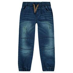 Jeans met used effect en met elastische enkels