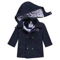 Caban en molleton doublé jersey avec capuche amovible et patch