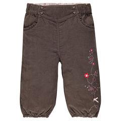 Pantalon en velours doublé jersey avec broderies