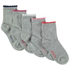 Lot de 5 paires de chaussettes assorties avec bord-côte contrasté festonné